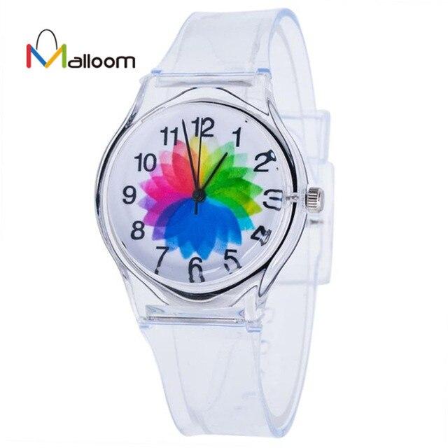 Malloom watches women quartz wristwatch clock silicone Transparent Clock Watches