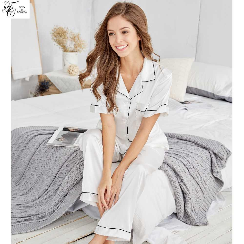 Tony Candice Silk Pajama Sets For Women With Shorts Satin Silk Pajamas Sets  For Ladies Two Piece 0d6dd54a1