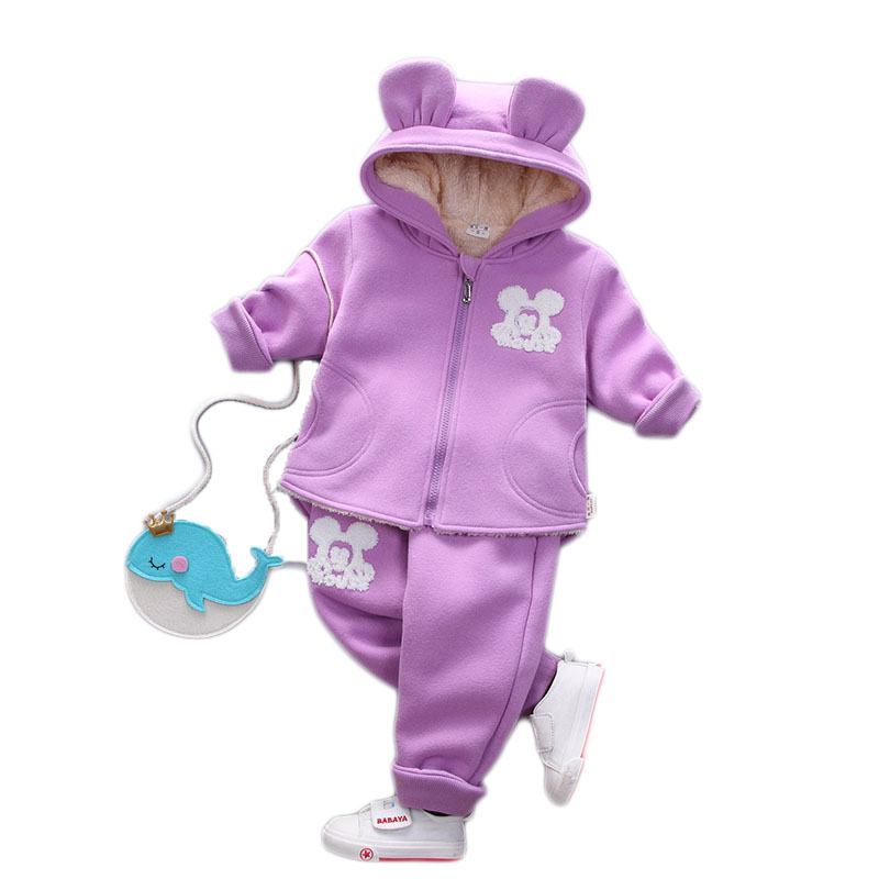 ФОТО 2017 Fashion Winter Children set Cartoon Girl Baby Children' s Clothing Thickening Plus Two - Piece Suit Cotton YD036