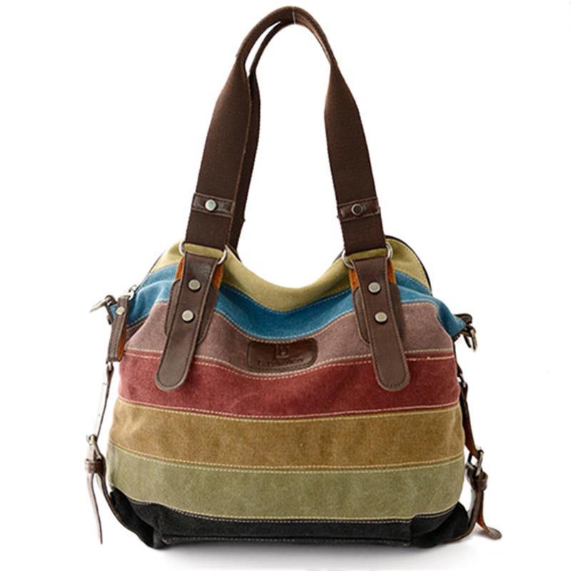 New Hot women bags Panelled Canvas Bags Casual Patchwork Handbag Shoulder Bags B