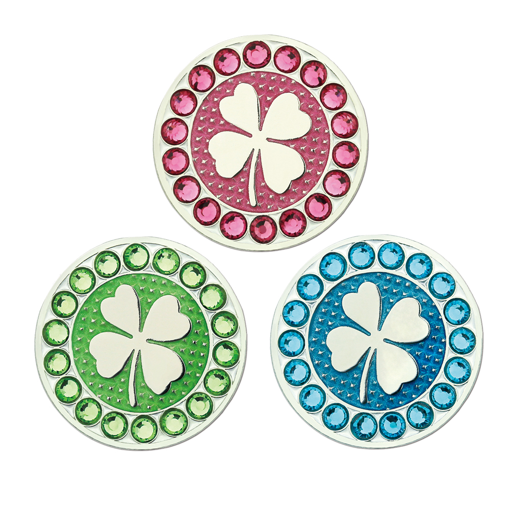 PINMEI Golf Ball Mark Sets Crystal Golf Markers ,Can Fit Magnetic Golf Hat Clip(Cap Clip) Divot Tool