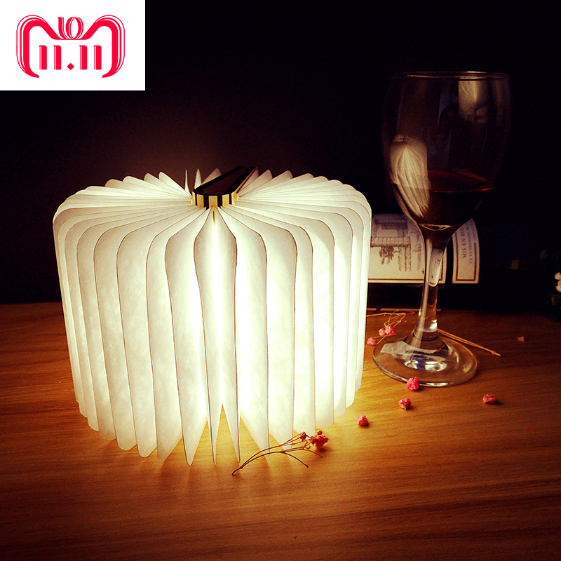 USB Rechargeable LED Foldable Wooden Book Shape Desk Lamp Night light Book light Bedside Table Decorating Night Lamp Wall Light yingtouman led night light folding book light usb port rechargeable paper cover home table desk ceiling decor lamp
