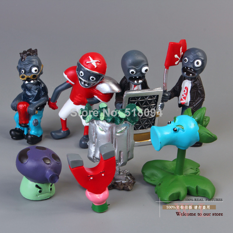 40pcs/set Plants vs Zombies 2.5-6.5cm PVC Action Figures PVZ Collection Figures Toys Gifts plant + zombies Free Shipping
