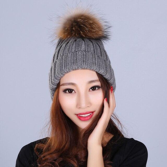 Real Fur Hats For Women New Brand Knitting Real Raccoon Fur Ball Design Fashion Bonnet Warm Trendy Winter Cap Women