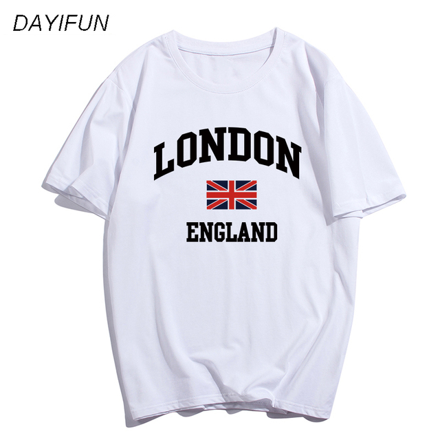 DAYIFUN brand women Clothing Slim Fitness t shirt LONDON print T-shirts Casual T-Shirts Skateboard Swag women's tops tees T079