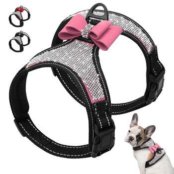 反射犬ハーネスピットブルパグ小中犬ハーネスベストブリンブリンラインストーンちょう結び犬アクセサリーペット用品