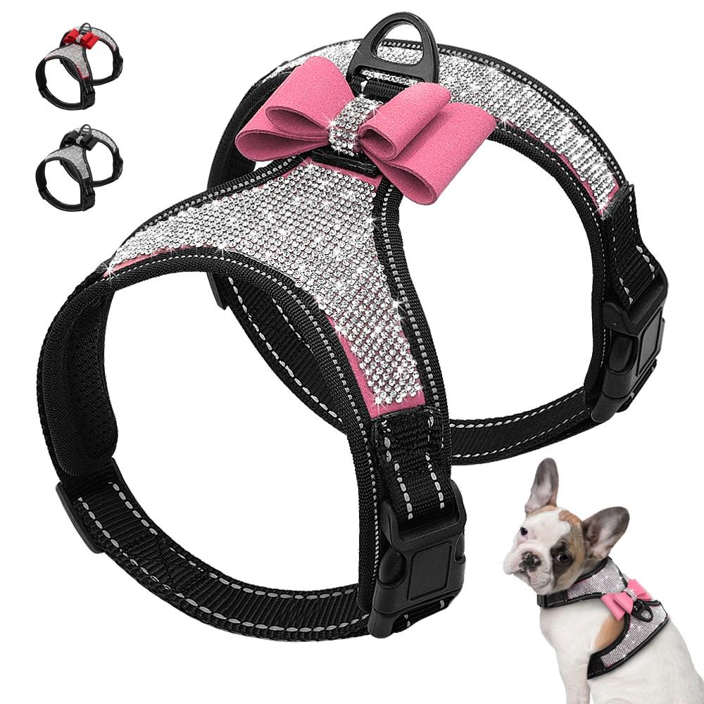 Reflective Dog Harness Nylon Pitbull Pug Small Medium Dogs Harnesses Vest Bling Rhinestone Bowknot Dog Accessories Pet Supplies szelki dla psa z cyrkoniami