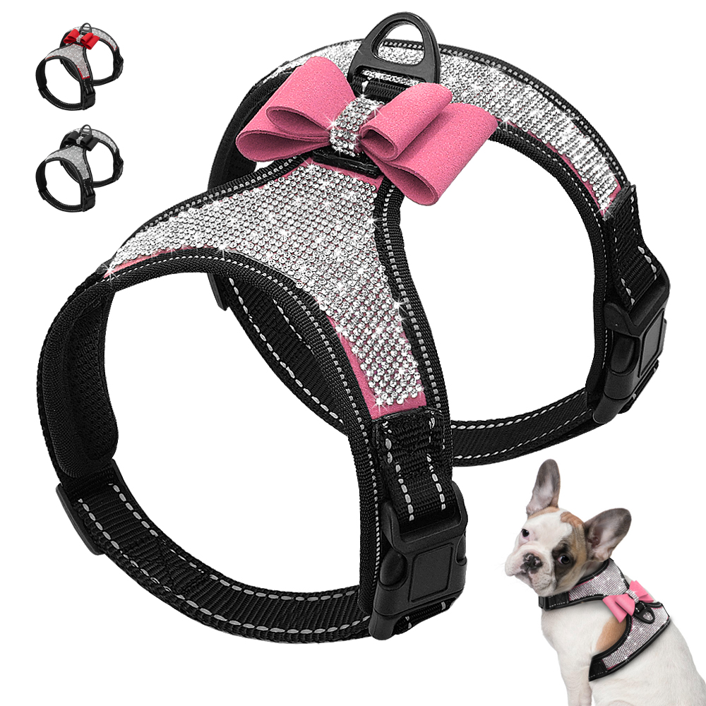 Home & Garden Soft Suede Pet Dog Harness Vest Puppy Cat Adjustable Rhinestone Chest Outdoor Walking Harnesses Collar For Small Dogs Accessorie