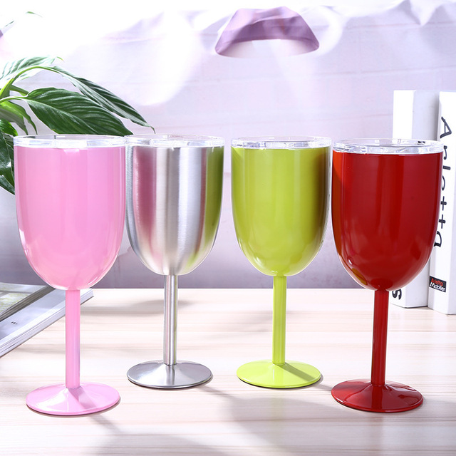 ce601ab4826 US $11.2 26% OFF|10oz Vacuum Stainless Steel Double Wall Insulated Wine Cup  Cocktail Wine Glass Goblet Wine Cup Juice Drinks Mug with Lid-in Vacuum ...