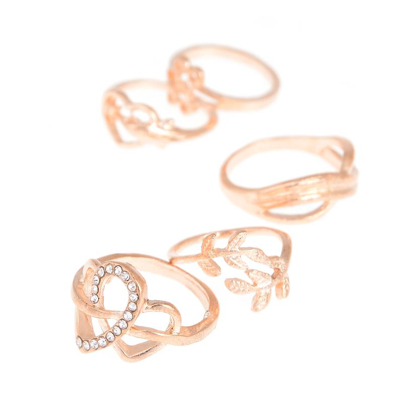 5 PCS/set Fashion Jewelry Silver and Gold Color Stacking Midi Rings for Women Love Heart Leaf Midi Set Mid Finger Ring Set ...