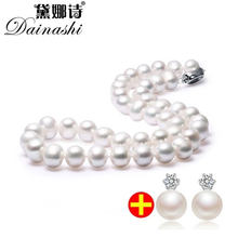 Super Deal 45cm natural freshwater pearl necklace with 8-9mm bread round pearl earrings for women gift white pink purple 2017(China)