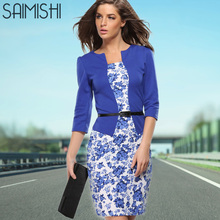 Saimis Summer Dress Style Dresses Bodycon Women Sheath Sexy Office Lady Flower Patchwork Tunic Patchwork One