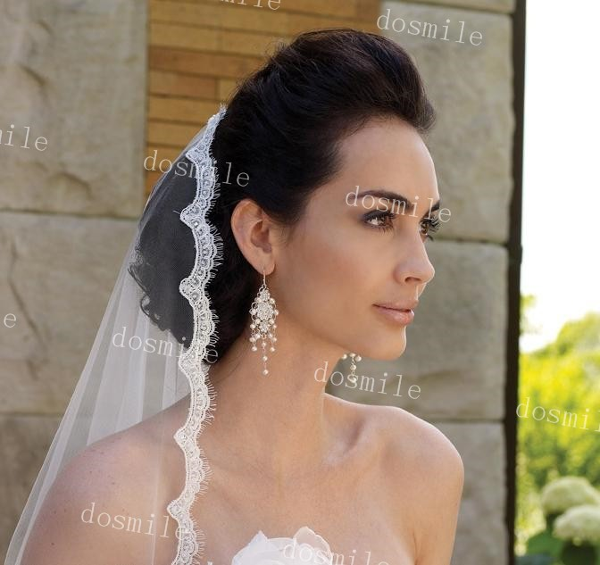 Charming One Layer Bridal Veils With Lace Eyelash Edge And Pearls Chapel Length Tulle Wedding Veils With Free Comb (1)