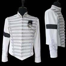 Косплей «сделай сам» унисекс Майкл Джексон белая куртка пальто, костюм для косплея MJ Хэллоуин косплей военный костюм L320
