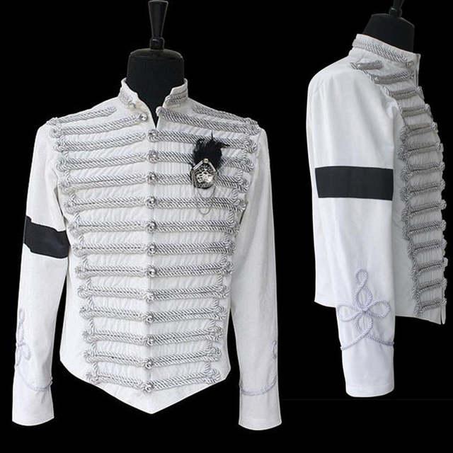 Michael Jackson Black Military Jacket Prince Pop Star Halloween Adult Costume