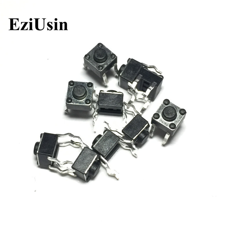 цена на EziUsin 100pcs 6*6*4.3 Panel PCB Momentary Tactile Tact Push Button Micro Switch 4 Pin DIP Light Touch 6x6x4.3 mm Keys Keyboard