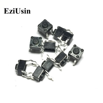 EziUsin 100pcs 6*6*4.3 Panel PCB Momentary Tactile Tact Push Button Micro Switch 4 Pin DIP Light Touch 6x6x4.3 mm Keys Keyboard image