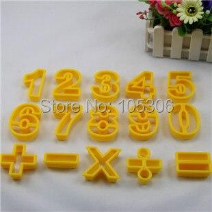 Acessórios de cozinha de alta qualidade Digital de 15 pçs/set Numeral Fondant plástico cortador de biscoitos símbolo selo biscoito Moldes