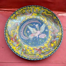 Exquisite Chinese Classical Porcelain Handmade Colorful Phoenix Decorative Plate