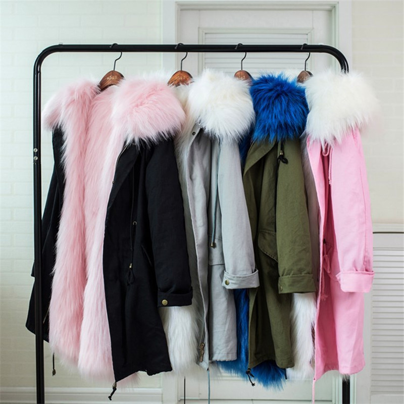 Women Winter Coat Faux Fox Fur Liner Detachable Jackets Mother Daughter Outerwear Girls Thicken Warm Coat Parka Family Matching 5 colors 2017 new long fur coat parka winter jacket women corduroy big real raccoon fur collar warm natural fox fur liner
