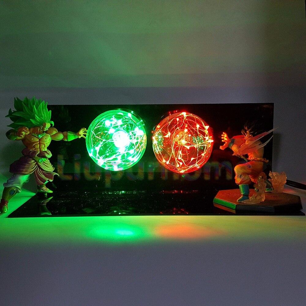 Dragon Ball Z Son Goku VS Broly Led Scene Anime Dragon Ball Super Table Lamp Toy Action Figures DBZ lampara led Night Lighting