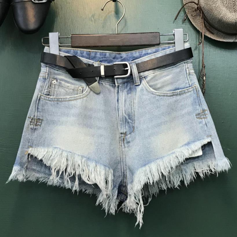 Plus Size 26-32!Women Summer Fashion Vintage Tassel Irregular Loose High Waisted Wide Leg Short Jeans Denim Shorts