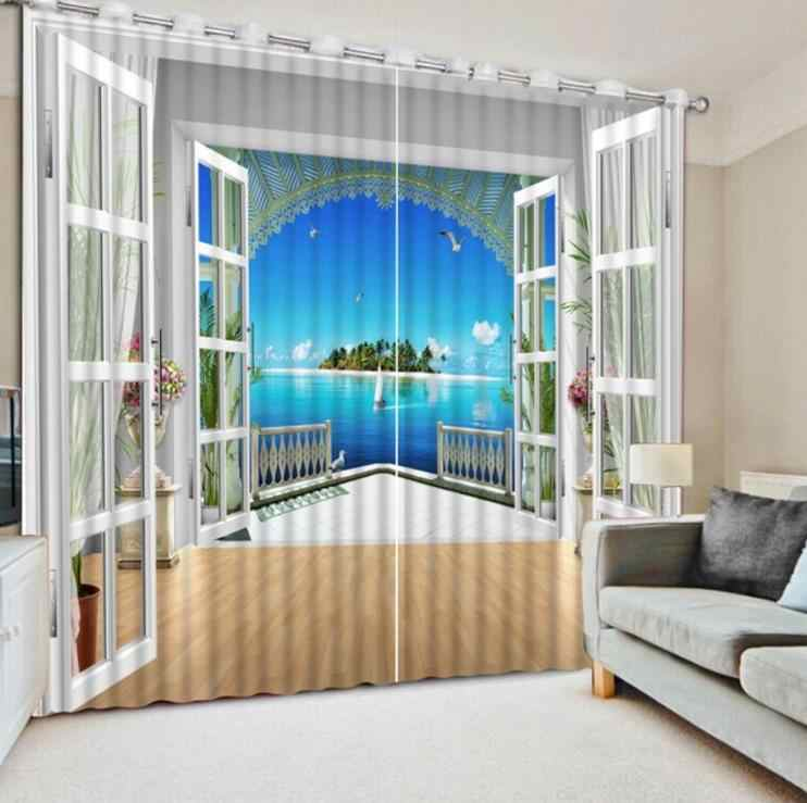 Modern Window Curtain Photo Paint big sea landscape Curtain 3D Blackout Curtain Landscape For Living room Bedroom Kids room