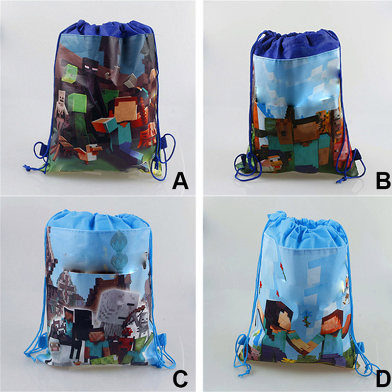 1pcs 36cm*27cm Game Minecraft Ladybug Trolls Toy Travel Drawstring Sport Bag Storage Swim Hiking Backpack Action Figure Toy