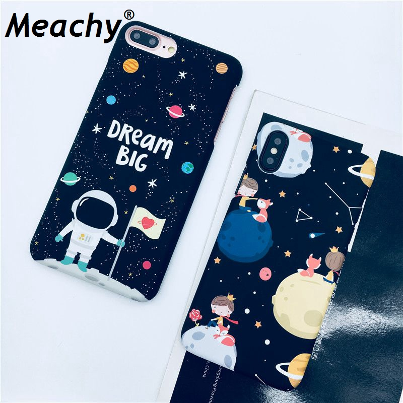 Meachy Hard Plastic Case For iPhone 7 7Plus 6 6s 6plus 6splus 8 8plus For iPhone X Planet Cute Coque Phone Accessories S8