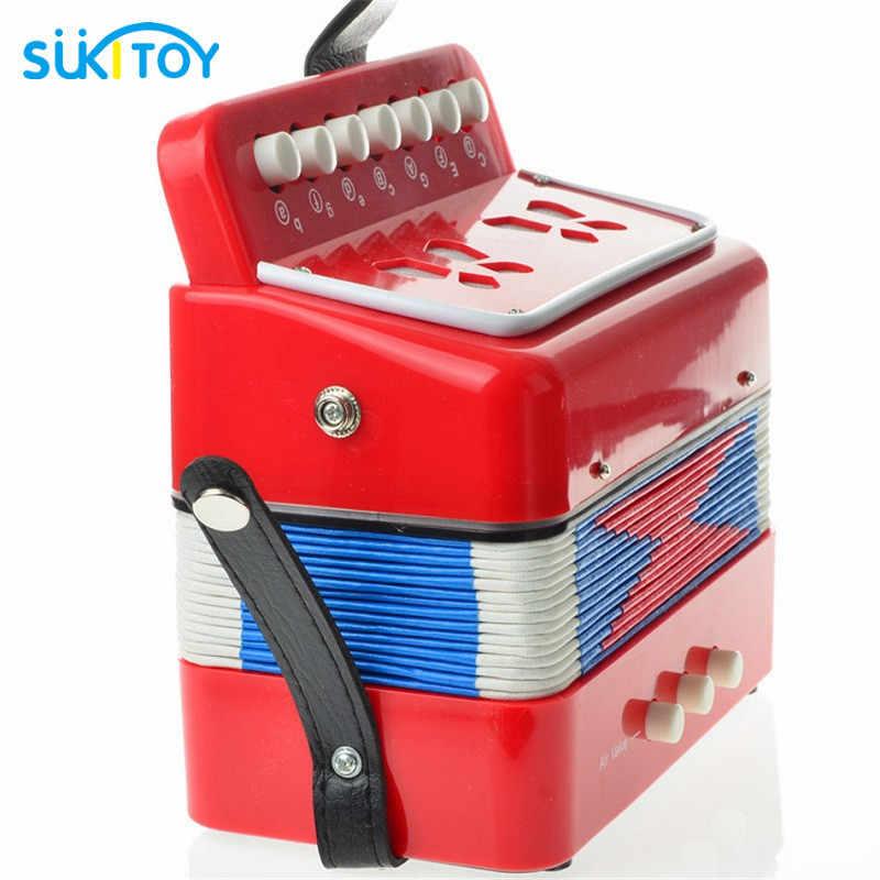 Sukitoy صك الأكورديون 7 مفاتيح زر البيانو الموسيقى اللعب