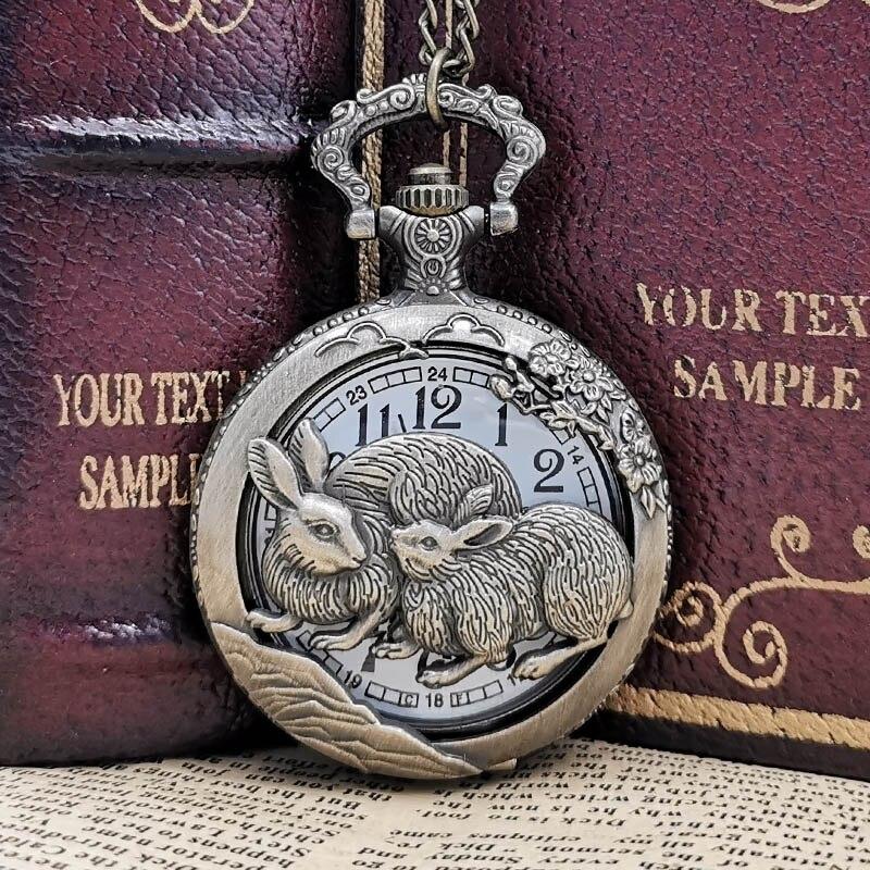 Vintage Lovely Rabbit Pendant Necklace Pocket Watch Quartz Pendant Clock Gifts Men Women Kids Reloj De Bolsillo