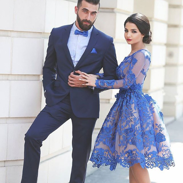 1d1d3895f98 Lace Appliques Short Prom Dress Scoop Knee-Length Long Sleeve Prom Dresses A -Line Tulle Royal Blue Prom Dress Vestidos H-194