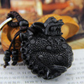 Chinese Traditional Ebony Hand Carving Mythical Wild Animal Car/Bag/Purse Keychain Amulet Pendant Good Luck for Your