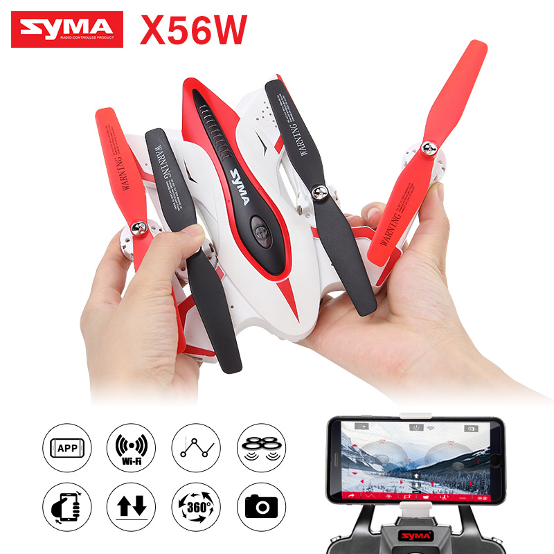 Foldable Helicopter Syma X56W RC Quadcopter Drone Camera 4CH 2.4G Aircraft RC Drone Remote Control Toys (X56 Without Camera) yc folding mini rc drone fpv wifi 500w hd camera remote control kids toys quadcopter helicopter aircraft toy kid air plane gift