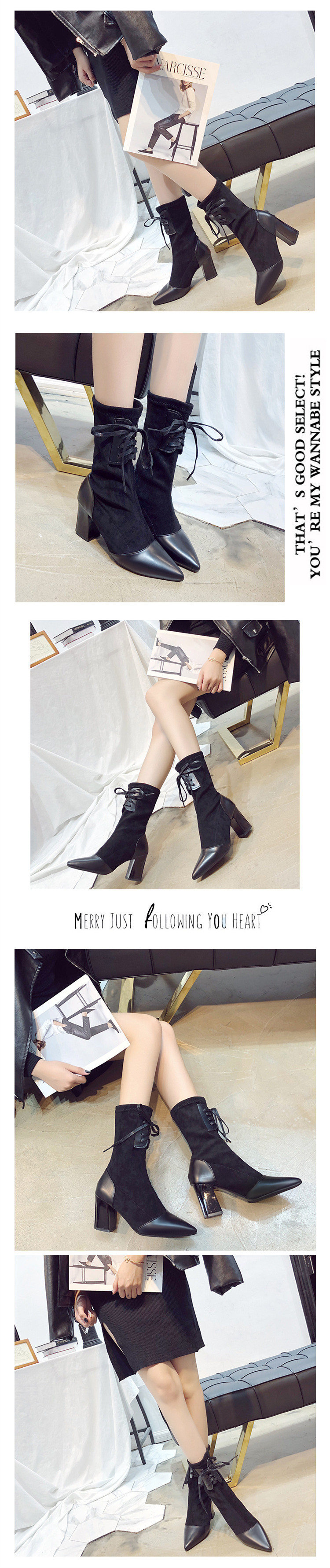 Women Mid-Calf Solid Casual Lace-up Flock Shoes 14