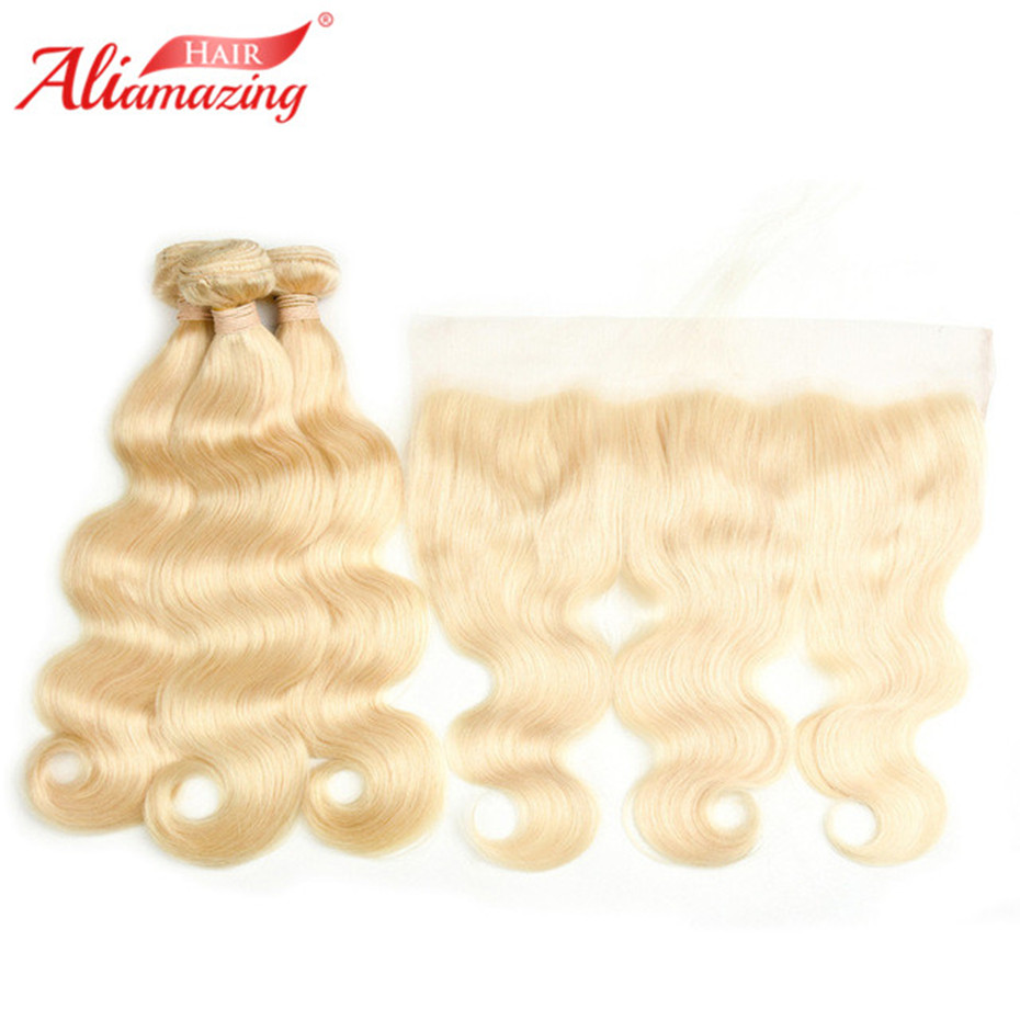 Ali Amazing Hair Peruvian 613 Blonde Bundles With Frontal Pre Plucked Body Wave Hair Honey Platinum Blonde Bundles Remy Hair image