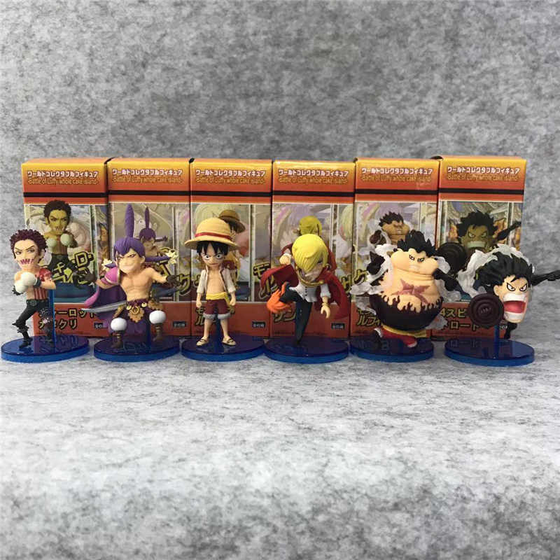 7.5-9cm One Piece Luffy Charlotte Dessert Three Star Vinsmoke Sanji  8th Ver.  PVC Action Figure OP Collectible Model Toy 6Pcs