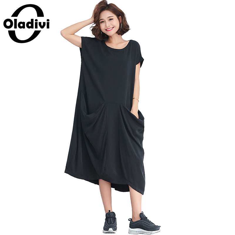 Oladivi Brand Women Clothing Casual Loose Cotton Shirt Dress Ladies Solid Pockets Dresses Long Tunic 2018 New Summer Vestidos