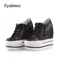 Cyabmoz Платформа Клин Высокие каблуки Женская обувь Кружево до толстая подошва увеличивающие рост Повседневное женская обувь zapatos mujer Tenis Feminino