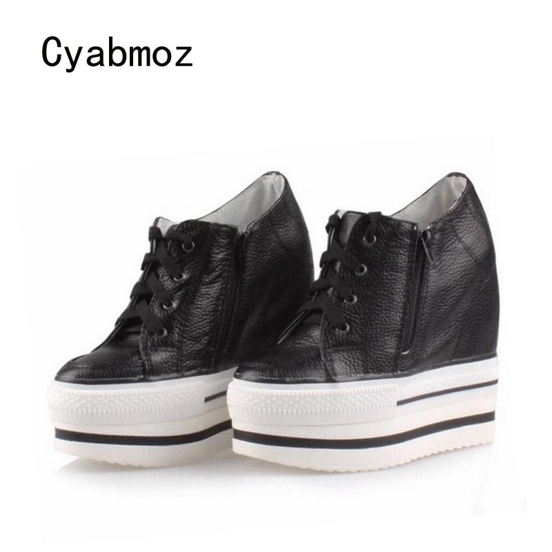 Cyabmoz Platform Wedge High heels Women Shoes Lace up Thick Bottom Height increasing Casual Woman Zapatos Mujer Tenis Feminino 2018 wedge high heels thick soled high top ladies casual shoes women platform canvas shoes hidden wedge heel boots zapatos mujer