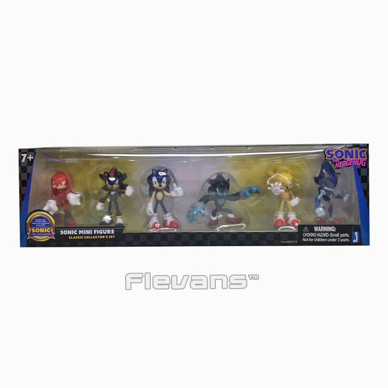 New Arrived Sonic the Hedgehog Sonic / Shadow / Tails / Knuckles PVC Action Figures Collectible Model Toys 6pcs/set 6~7cm original box sonic the hedgehog vivid nendoroid series pvc action figure collection pvc model children kids toys free shipping
