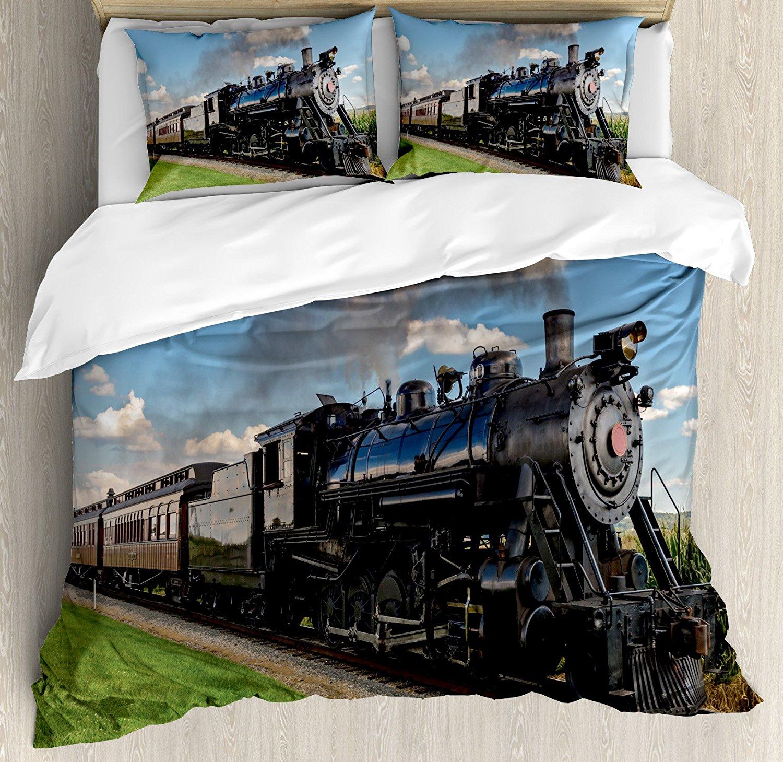 Ensemble housse de couette pour moteur à vapeur Locomotive Vintage en paysage de campagne herbe verte feuilletée Train image ensemble de literie 4 pièces