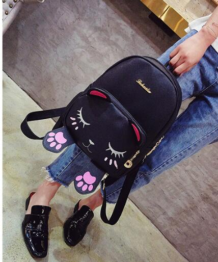 New Fashion Korean version of Backpack Women Pu Leather School Backpack Cute Kitten Backpacks for girls 710 39 99usd 9 colours 2017 wholesale korean fashion pu zipper primary secondary school students backpack five pieces 2017121401