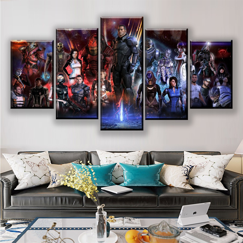 Modern Wall Art Canvas HD Prints Poster Home Decorative 5 Pieces Game Mass Effect Role Painting Framework Modular Pictures image