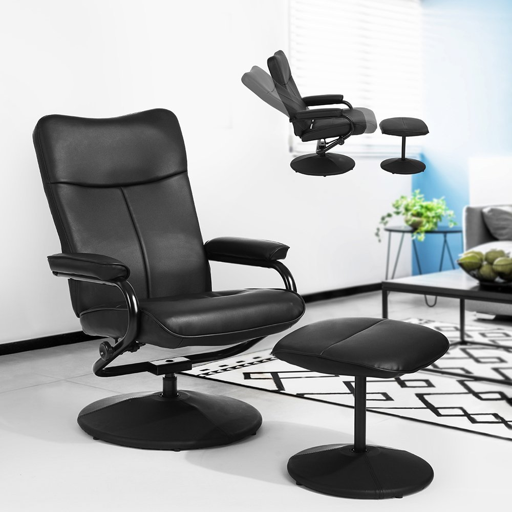 Executive Deluxe PU Leather Racing Style Reclining Leisure and Ottoman Bucket Seat Swivel Chair for Home Office, Black