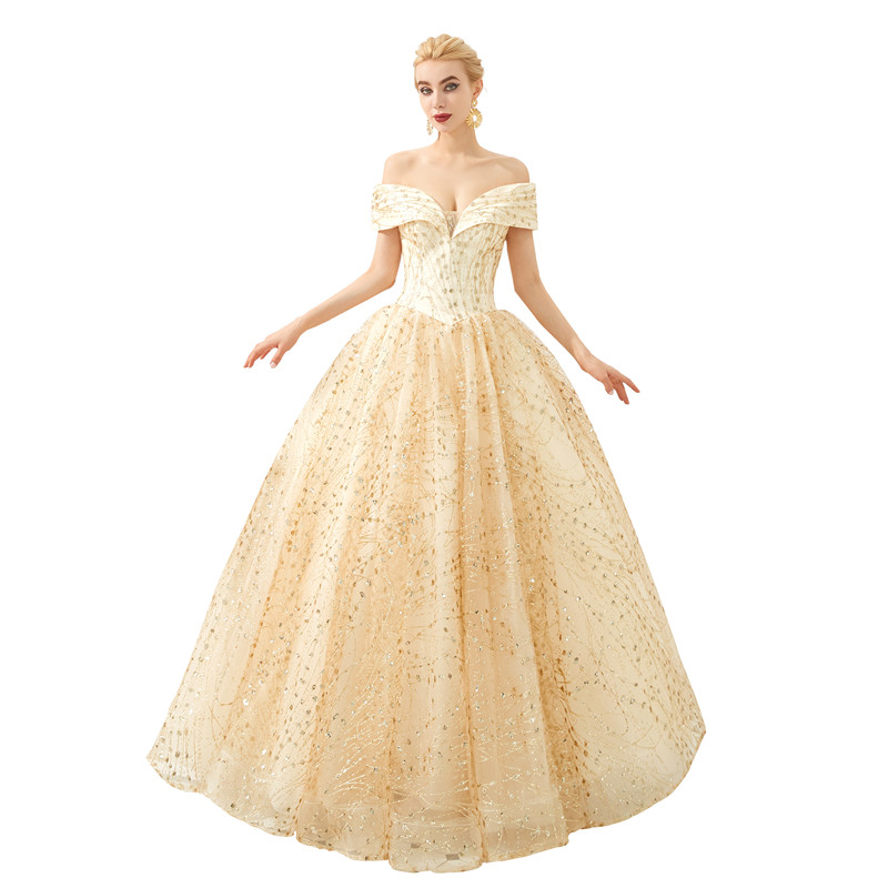 Elegant Gold Tulle with Embroidery Off the Shoulder Lace Up Robe longue Serene hill Suknie wieczorowe Formal dress women elegant