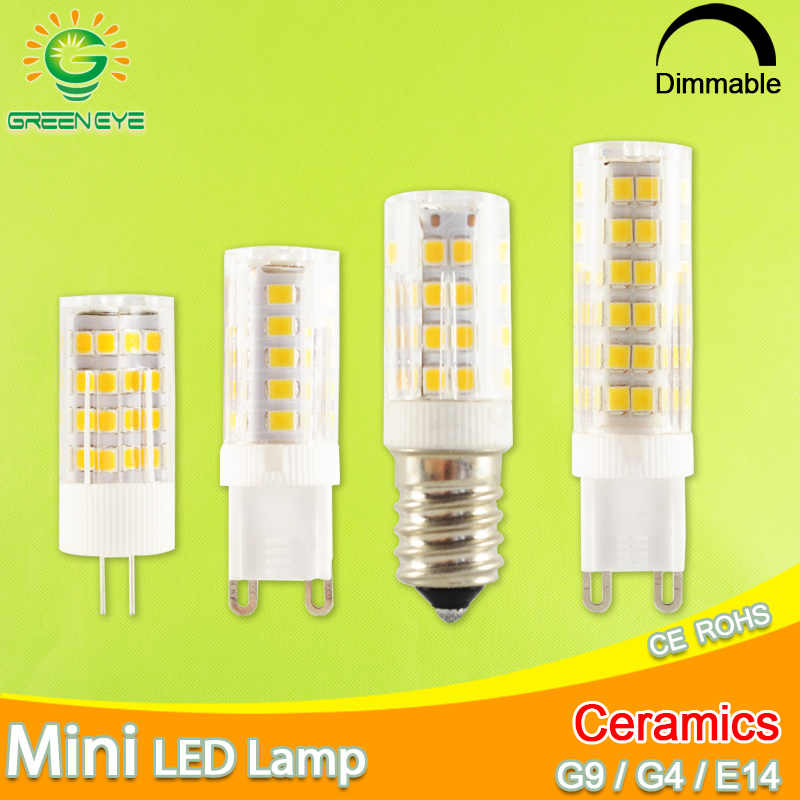 GreenEye G9 Led Lamp Ceramic LED Bulb E14 220V 5W 7W 9W 12W 2835 SMD G4 LED dimmable lamps 360 Degree Angle Led Spotlight Lamp