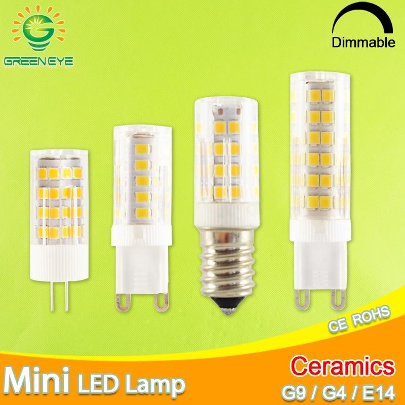 GreenEye G9 Led Lamp Ceramic LED Bulb E14 220V 5W 7W 9W 12W 2835 SMD G4 LED Dimmable Lamps 360 Degree Angle Led Spotlight Lamp