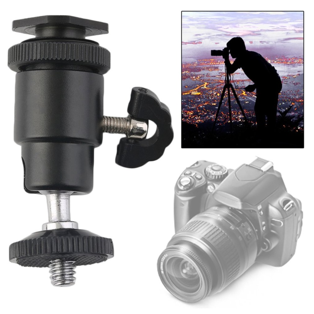 Hot 1  4 Dual Nuts Adapter Mini Ball Head With Lock Tripod Mount For Photography Cameras Led
