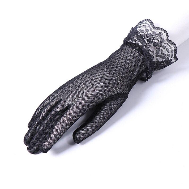 Fashion Sexy Summer Female Full Finger Sunscreen Short Lace Gloves Women Driving Spider Web Pattern Sun Anti-UV Black Gloves C48